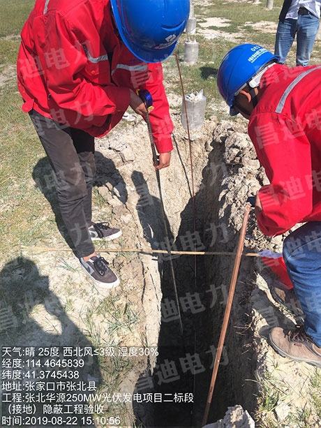 (接地)隐蔽工程验收-张北华源250MW光伏发电项目二标段